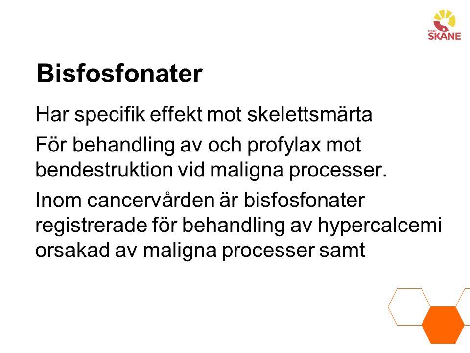 Bisfosfonater Har specifik effekt mot skelettsmärta För behandling av och profylax mot bendestruktion vid maligna processer.