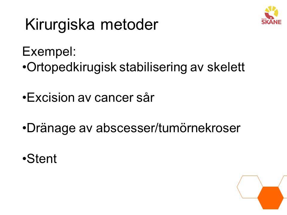 Kirurgiska metoder Exempel: Ortopedkirugisk stabilisering av skelett Excision av cancer sår Dränage av abscesser/tumörnekroser Stent
