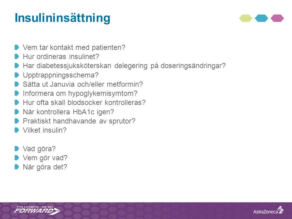 Insulininsättning Vem tar kontakt med patienten? Hur ordineras insulinet? Har diabetessjuksköterskan delegering på doseringsändringar? Upptrappningssc