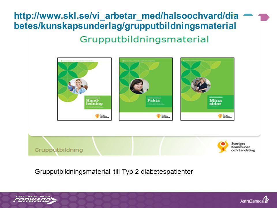 http://www.skl.se/vi_arbetar_med/halsoochvard/dia betes/kunskapsunderlag/grupputbildningsmaterial Grupputbildningsmaterial till Typ 2 diabetespatiente