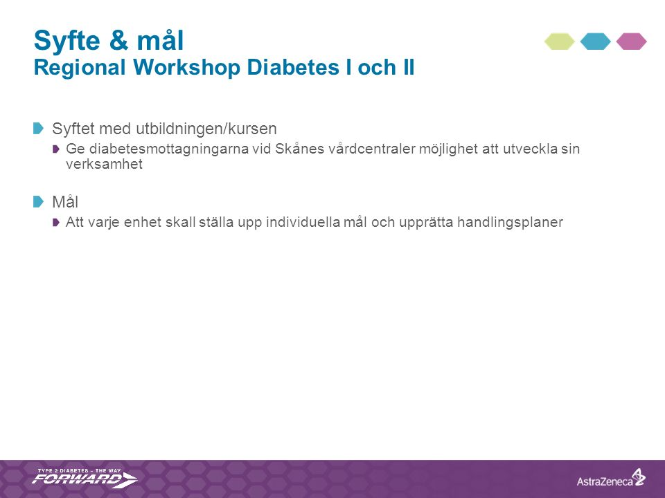 Syfte & mål Regional Workshop Diabetes I och II Syftet med utbildningen/kursen Ge diabetesmottagningarna vid Skånes vårdcentraler möjlighet att utveck