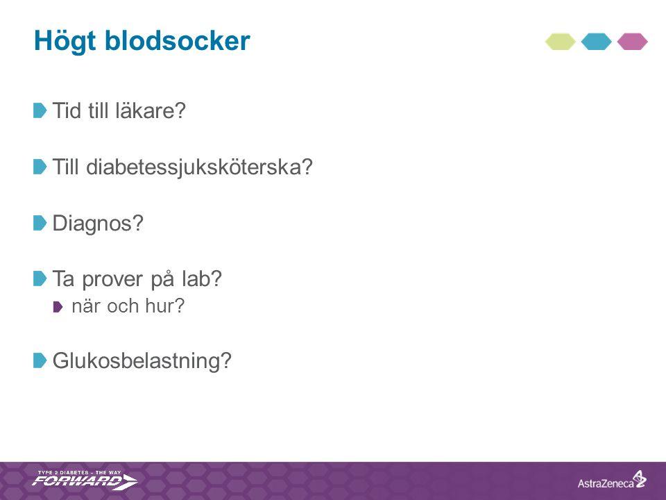 Högt blodsocker Tid till läkare? Till diabetessjuksköterska? Diagnos? Ta prover på lab? när och hur? Glukosbelastning?