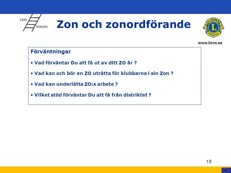 www.lions.se 13 Zon och zonordförande Förväntningar Vad förväntar Du att få ut av ditt ZO år ? Vad kan och bör en ZO uträtta för klubbarna i sin Zon ?