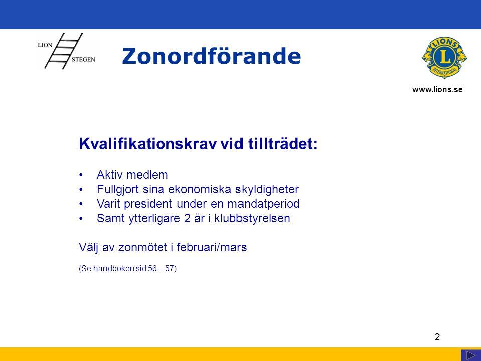 www.lions.se Zonordförande 2 Kvalifikationskrav vid tillträdet: Aktiv medlem Fullgjort sina ekonomiska skyldigheter Varit president under en mandatper