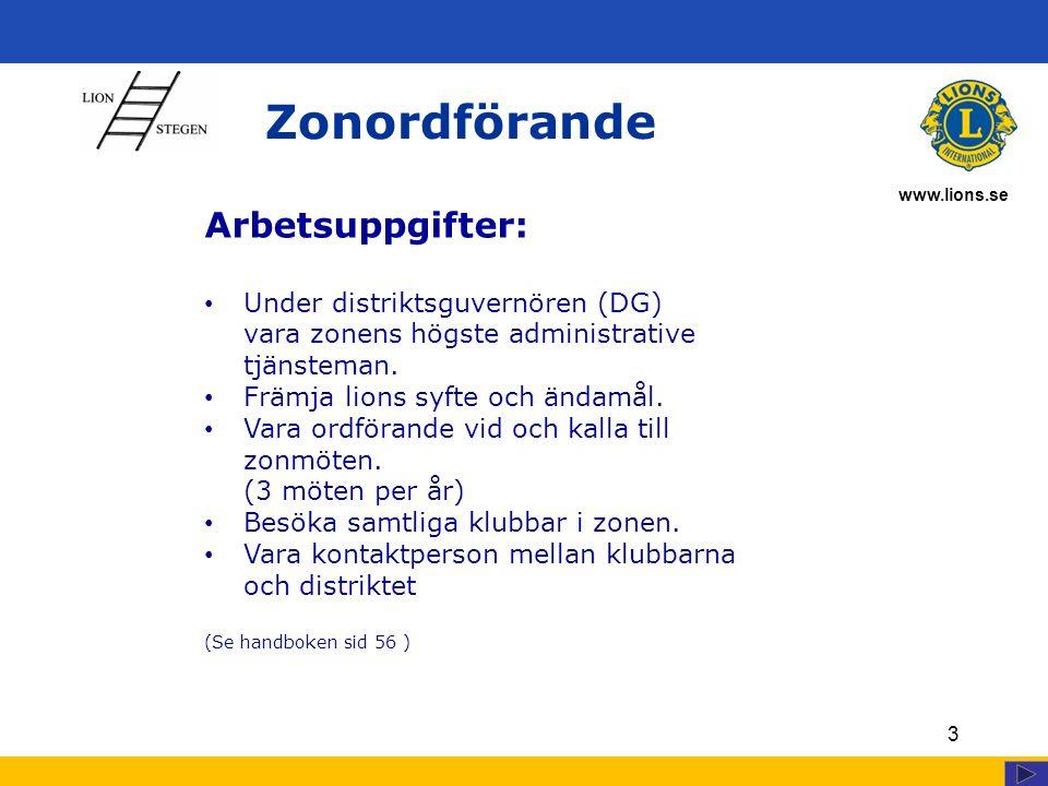 www.lions.se Zonordförande 3 Arbetsuppgifter: Under distriktsguvernören (DG) vara zonens högste administrative tjänsteman. Främja lions syfte och ända