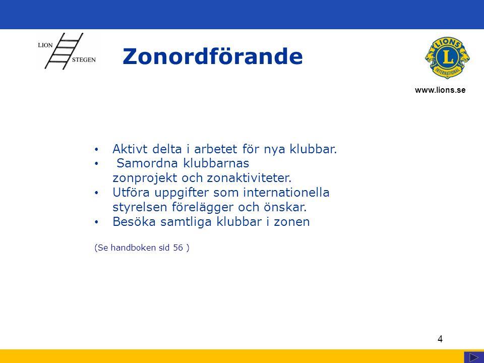 www.lions.se Zonordförande 4 Aktivt delta i arbetet för nya klubbar. Samordna klubbarnas zonprojekt och zonaktiviteter. Utföra uppgifter som internati