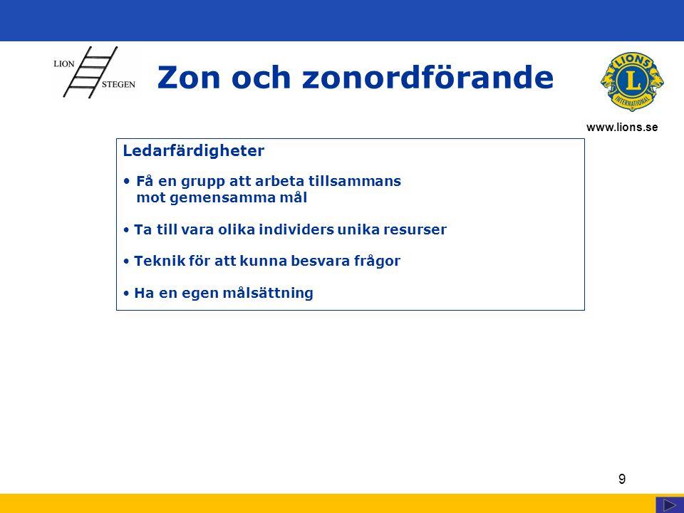 www.lions.se Zon och zonordförande 9 Ledarfärdigheter Få en grupp att arbeta tillsammans mot gemensamma mål Ta till vara olika individers unika resurser Teknik för att kunna besvara frågor Ha en egen målsättning