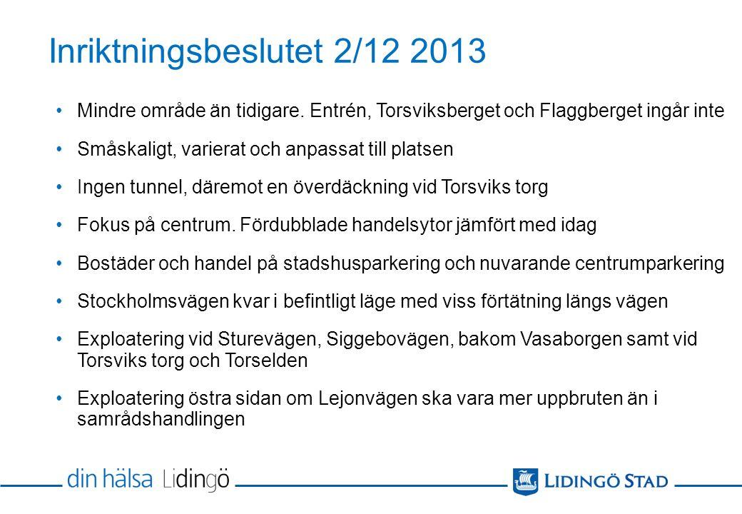 Inriktningsbeslutet 2/12 2013 Mindre område än tidigare.