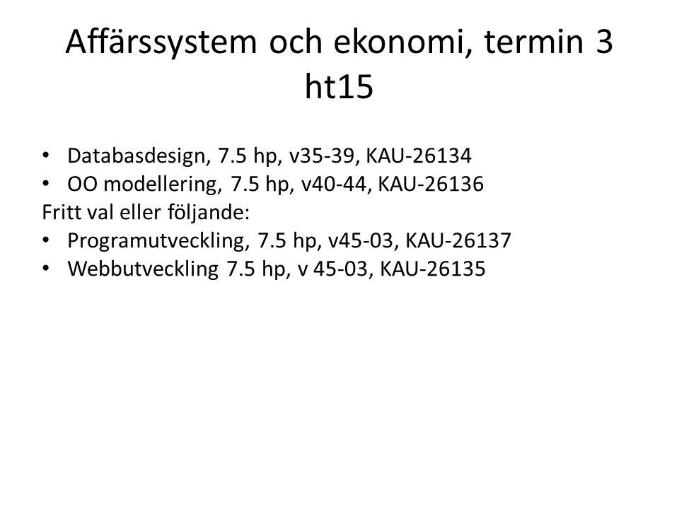 Affärssystem och ekonomi, termin 3 ht15 Databasdesign, 7.5 hp, v35-39, KAU-26134 OO modellering, 7.5 hp, v40-44, KAU-26136 Fritt val eller följande: P