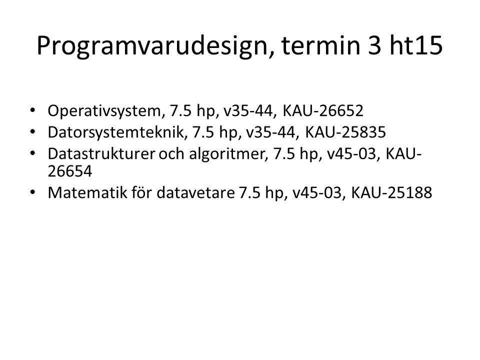 Programvarudesign, termin 3 ht15 Operativsystem, 7.5 hp, v35-44, KAU-26652 Datorsystemteknik, 7.5 hp, v35-44, KAU-25835 Datastrukturer och algoritmer, 7.5 hp, v45-03, KAU- 26654 Matematik för datavetare 7.5 hp, v45-03, KAU-25188