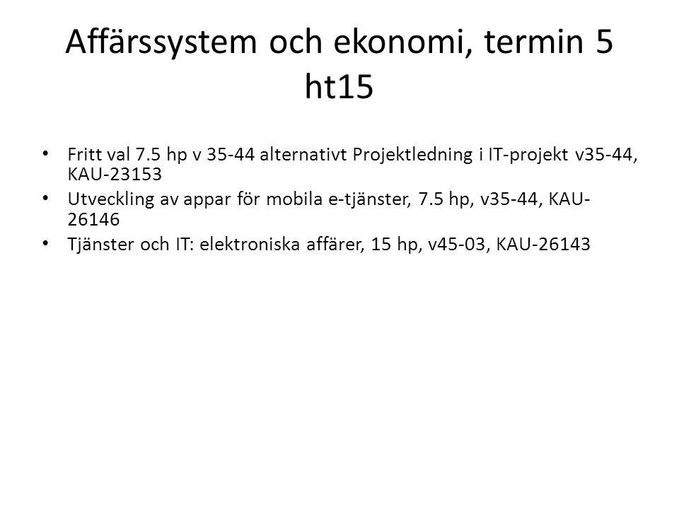 Affärssystem och ekonomi, termin 5 ht15 Fritt val 7.5 hp v 35-44 alternativt Projektledning i IT-projekt v35-44, KAU-23153 Utveckling av appar för mob