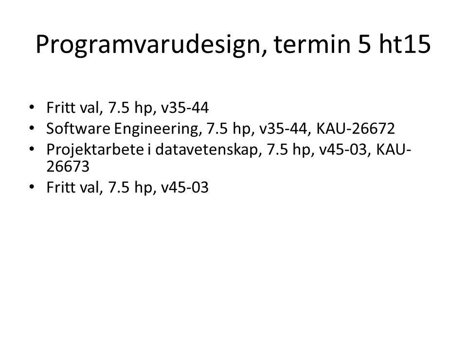 Programvarudesign, termin 5 ht15 Fritt val, 7.5 hp, v35-44 Software Engineering, 7.5 hp, v35-44, KAU-26672 Projektarbete i datavetenskap, 7.5 hp, v45-03, KAU- 26673 Fritt val, 7.5 hp, v45-03