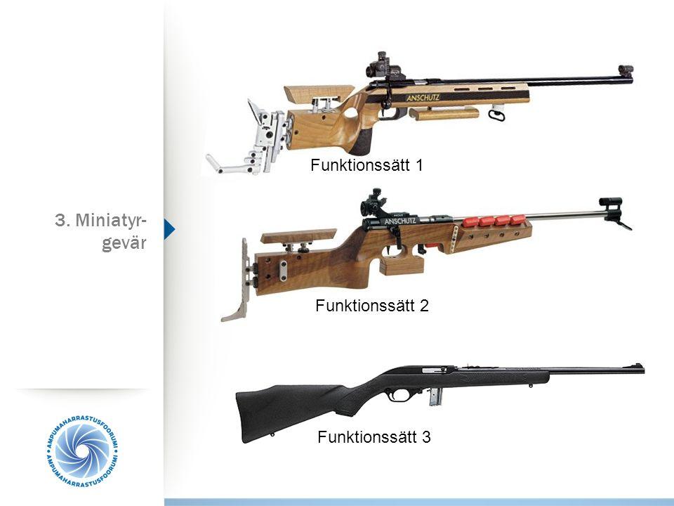Funktionssätt 1 Funktionssätt 2 Funktionssätt 3 3. Miniatyr- gevär