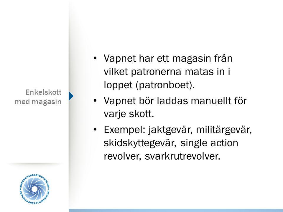 Enkelskott med magasin Vapnet har ett magasin från vilket patronerna matas in i loppet (patronboet).