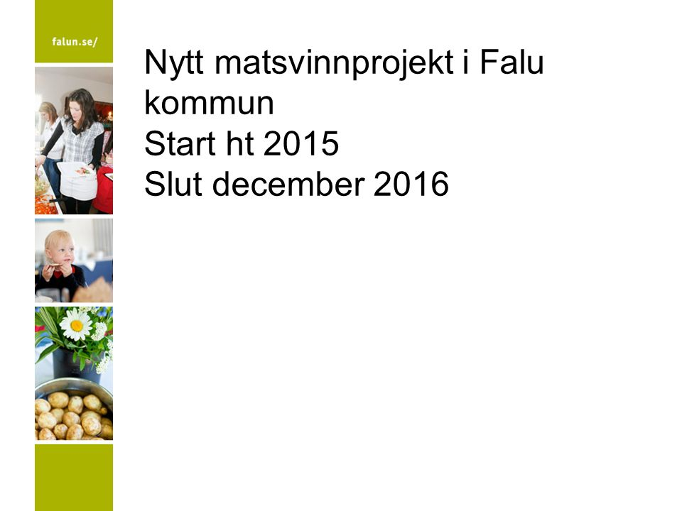 Nytt matsvinnprojekt i Falu kommun Start ht 2015 Slut december 2016