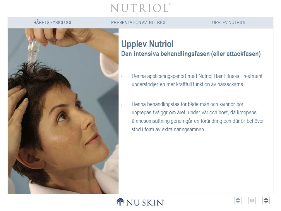 HÅRETS FYSIOLOGIPRESENTATION AV NUTRIOLUPPLEV NUTRIOL  Upplev Nutriol Den intensiva behandlingsfasen (eller attackfasen)  Denna appliceringsperiod