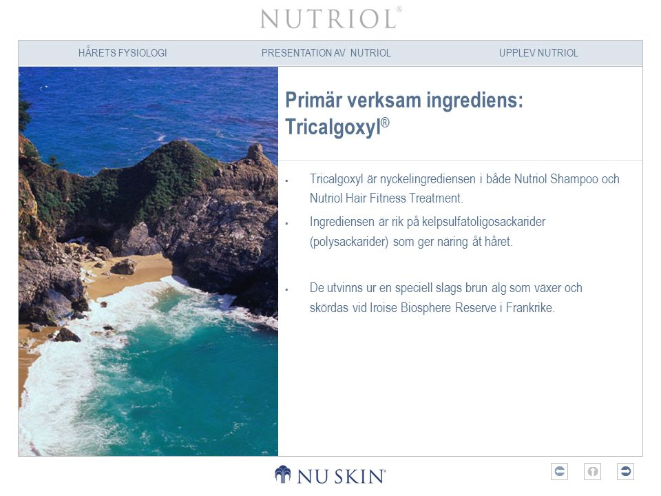 HÅRETS FYSIOLOGIPRESENTATION AV NUTRIOLUPPLEV NUTRIOL  Primär verksam ingrediens: Tricalgoxyl ®  Tricalgoxyl är nyckelingrediensen i både Nutriol