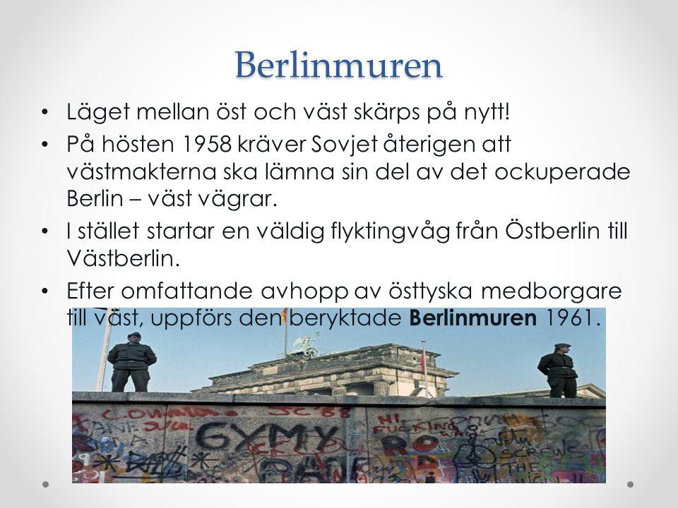 Berlinmuren Läget mellan öst och väst skärps på nytt! På hösten 1958 kräver Sovjet återigen att västmakterna ska lämna sin del av det ockuperade Berli