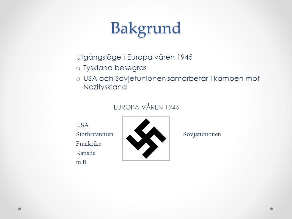 Bakgrund Utgångsläge i Europa våren 1945 o Tyskland besegras o USA och Sovjetunionen samarbetar i kampen mot Nazityskland EUROPA VÅREN 1945 USA Storbr