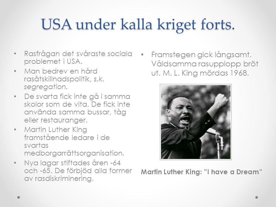 """USA under kalla kriget forts. Framstegen gick långsamt. Våldsamma rasupplopp bröt ut. M. L. King mördas 1968. Martin Luther King: """"I have a Dream"""" Ras"""