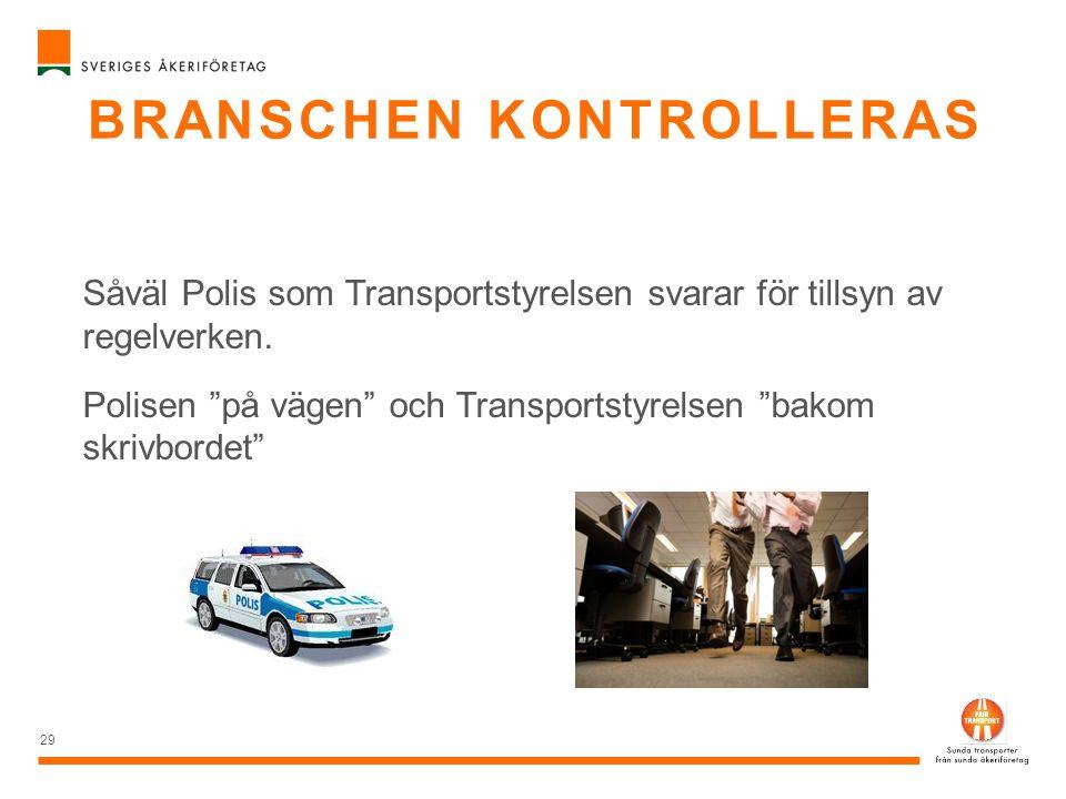 """BRANSCHEN KONTROLLERAS 29 Såväl Polis som Transportstyrelsen svarar för tillsyn av regelverken. Polisen """"på vägen"""" och Transportstyrelsen """"bakom skriv"""