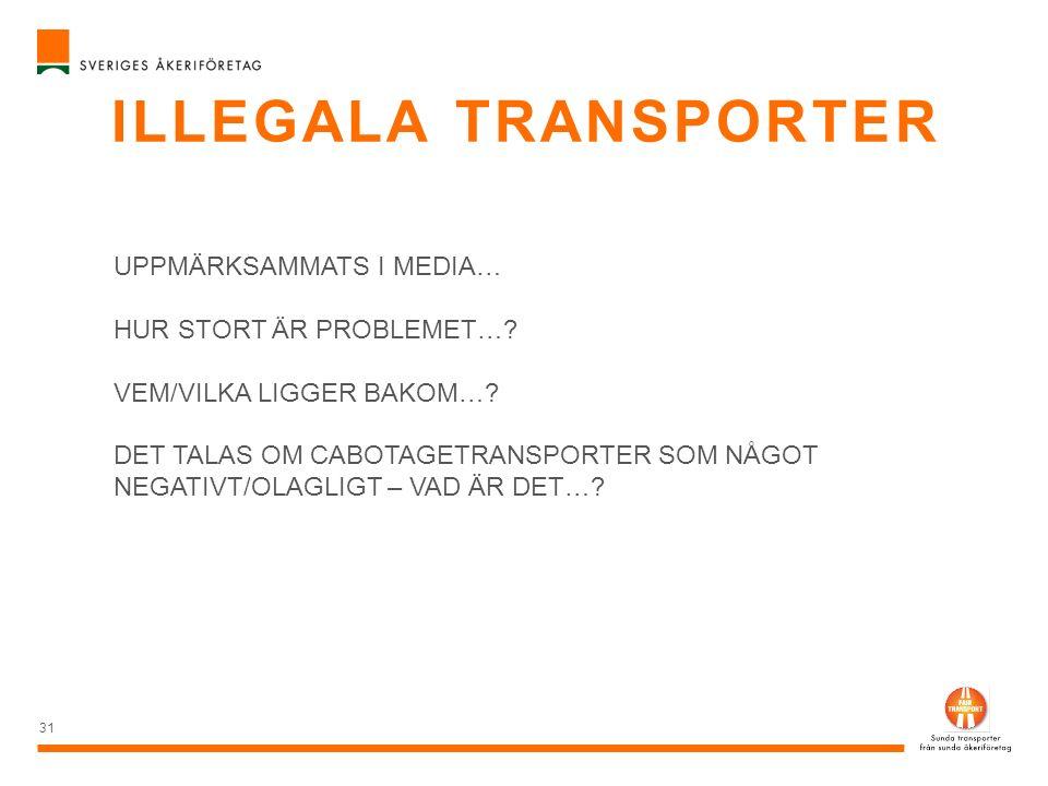 ILLEGALA TRANSPORTER 31 UPPMÄRKSAMMATS I MEDIA… HUR STORT ÄR PROBLEMET…? VEM/VILKA LIGGER BAKOM…? DET TALAS OM CABOTAGETRANSPORTER SOM NÅGOT NEGATIVT/