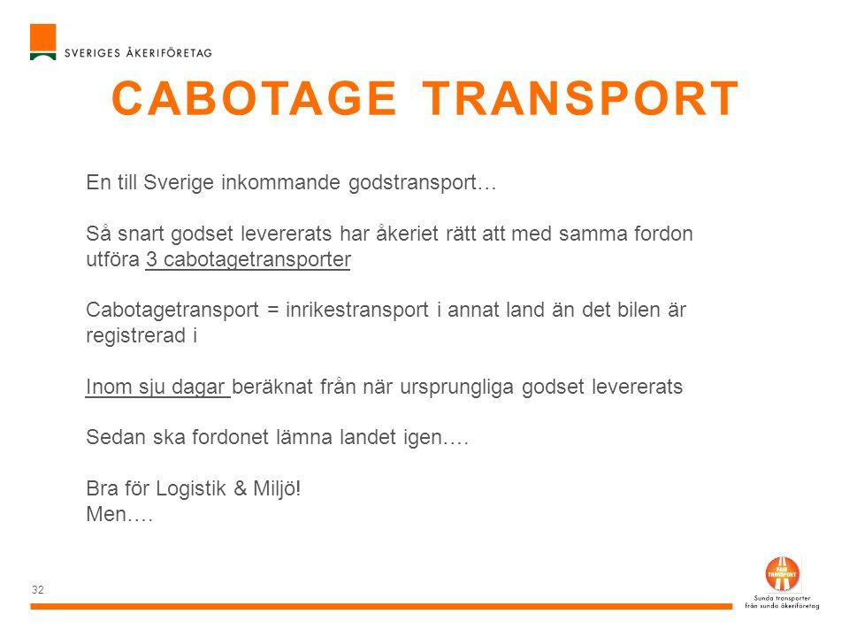 CABOTAGE TRANSPORT 32 En till Sverige inkommande godstransport… Så snart godset levererats har åkeriet rätt att med samma fordon utföra 3 cabotagetran