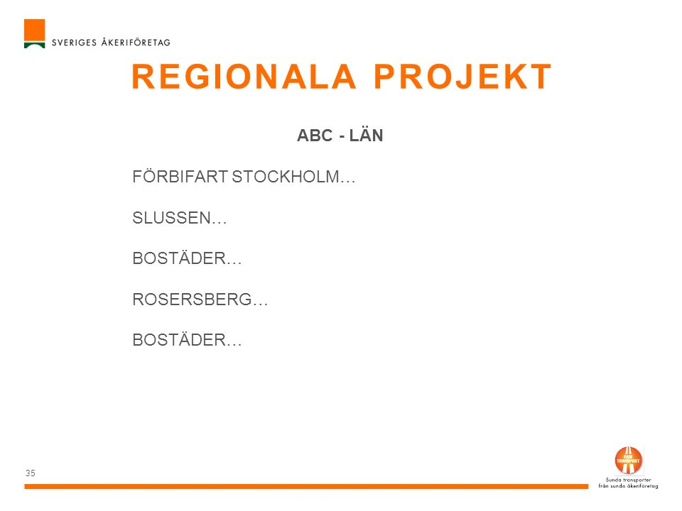 REGIONALA PROJEKT 36 FÖRBIFART STOCKHOLM FSE 607 VEIDEKKE FSE 403 BILFINGER FSE 210 SUBTERRA FSE BERGTUNNEL - SKANSKA VEIDEKKE – NORGE BILFINGER – ÖSTERRIKE SUBTERRA - TJECKIEN