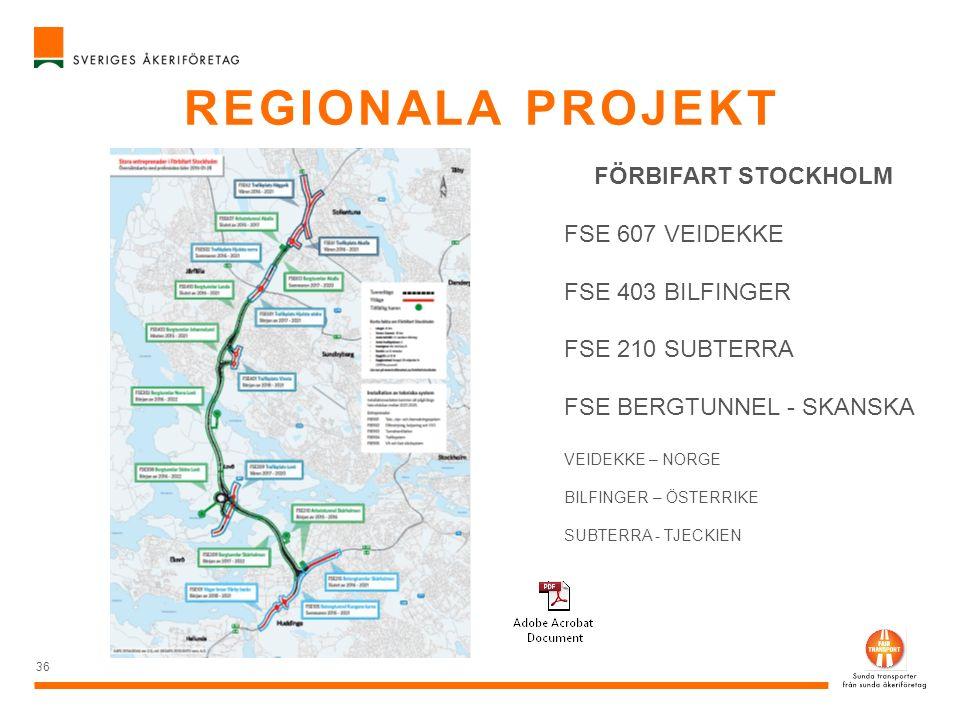 REGIONALA PROJEKT 36 FÖRBIFART STOCKHOLM FSE 607 VEIDEKKE FSE 403 BILFINGER FSE 210 SUBTERRA FSE BERGTUNNEL - SKANSKA VEIDEKKE – NORGE BILFINGER – ÖST