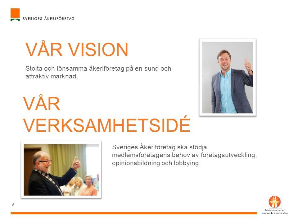 6 VÅR VISION Stolta och lönsamma åkeriföretag på en sund och attraktiv marknad. VÅR VERKSAMHETSIDÉ Sveriges Åkeriföretag ska stödja medlemsföretagens
