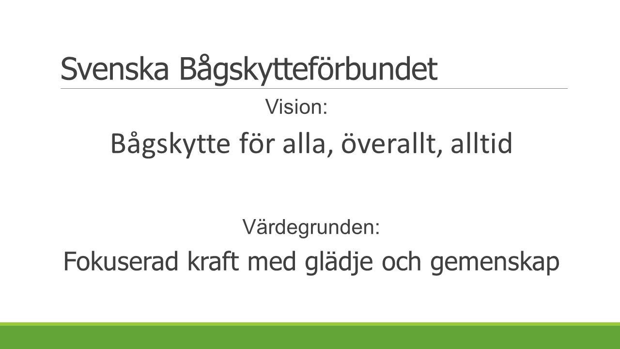 Svenska Bågskytteförbundet Vision: Bågskytte för alla, överallt, alltid Värdegrunden: Fokuserad kraft med glädje och gemenskap