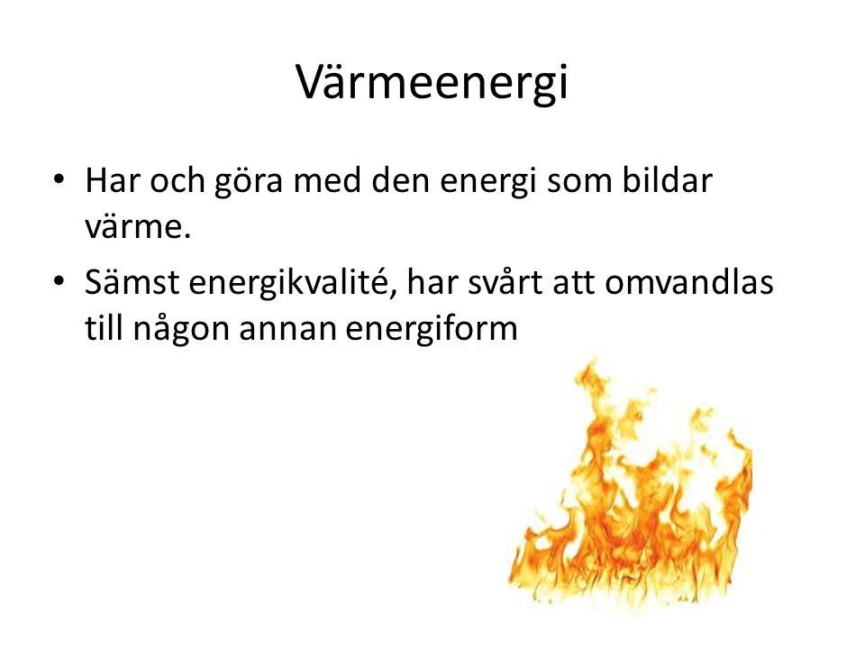 Värmeenergi Har och göra med den energi som bildar värme. Sämst energikvalité, har svårt att omvandlas till någon annan energiform