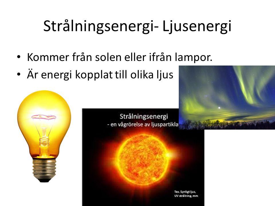 Strålningsenergi- Ljusenergi Kommer från solen eller ifrån lampor. Är energi kopplat till olika ljus