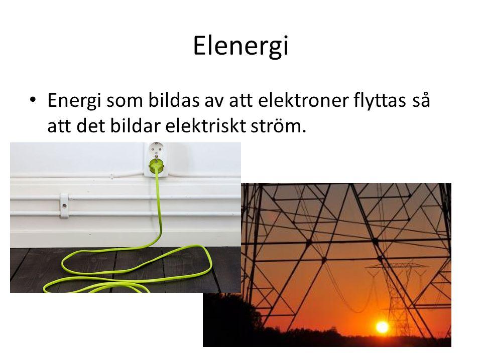 Elenergi Energi som bildas av att elektroner flyttas så att det bildar elektriskt ström.