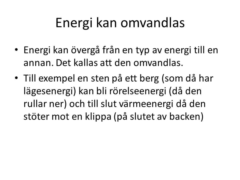 Energi kan omvandlas Energi kan övergå från en typ av energi till en annan. Det kallas att den omvandlas. Till exempel en sten på ett berg (som då har