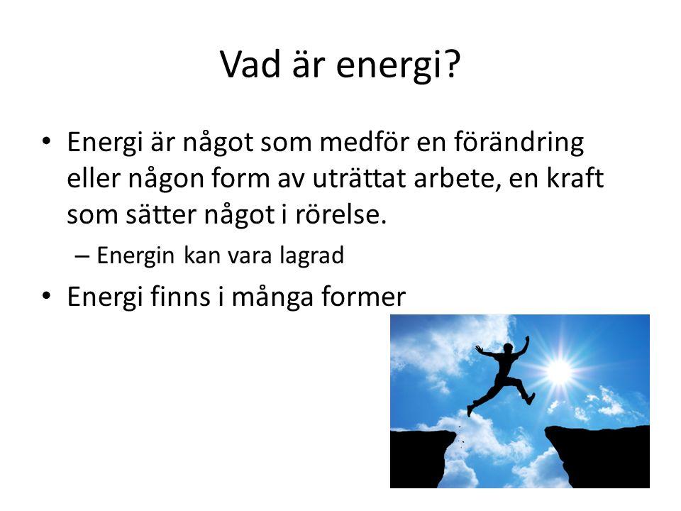 Vad är energi? Energi är något som medför en förändring eller någon form av uträttat arbete, en kraft som sätter något i rörelse. – Energin kan vara l