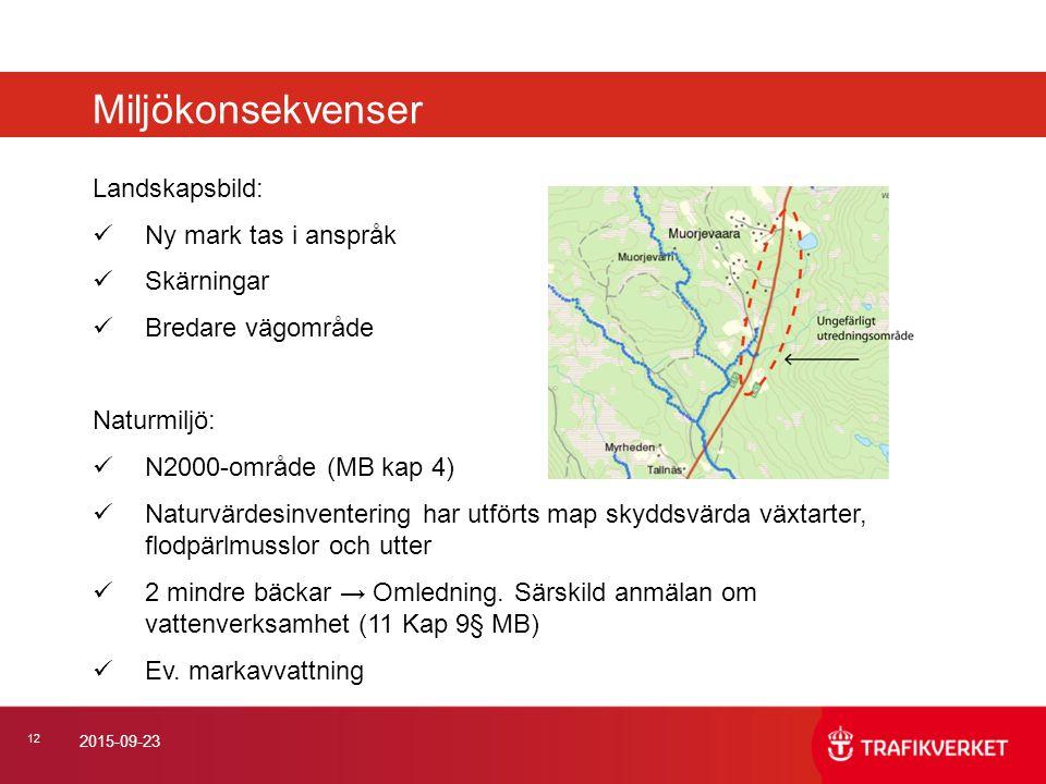 12 2015-09-23 Landskapsbild: Ny mark tas i anspråk Skärningar Bredare vägområde Naturmiljö: N2000-område (MB kap 4) Naturvärdesinventering har utförts