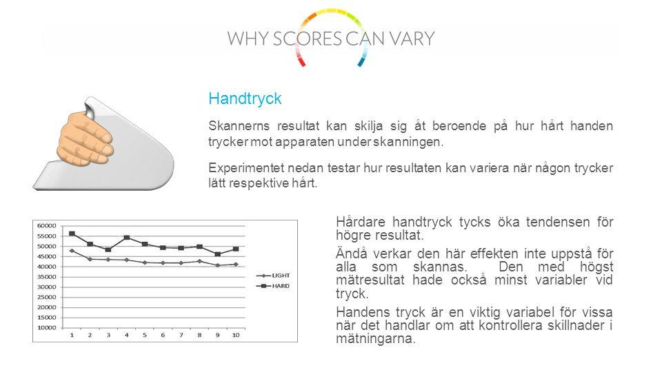 Skannerns resultat kan skilja sig åt beroende på hur hårt handen trycker mot apparaten under skanningen.