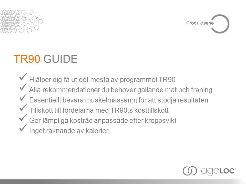 Hjälper dig få ut det mesta av programmet TR90 Alla rekommendationer du behöver gällande mat och träning Essentiellt bevara muskelmassan (1) för att stödja resultaten Tillskott till fördelarna med TR90:s kosttillskott Ger lämpliga kostråd anpassade efter kroppsvikt Inget räknande av kalorier TR90 GUIDE Produktserie