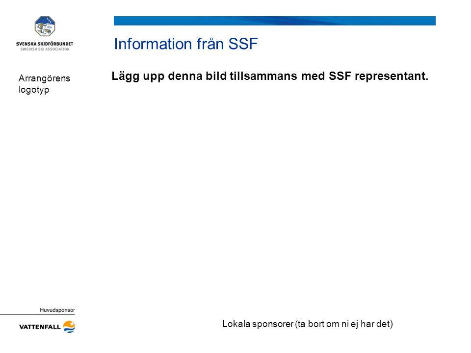 Information från SSF Lägg upp denna bild tillsammans med SSF representant. Arrangörens logotyp Lokala sponsorer (ta bort om ni ej har det )
