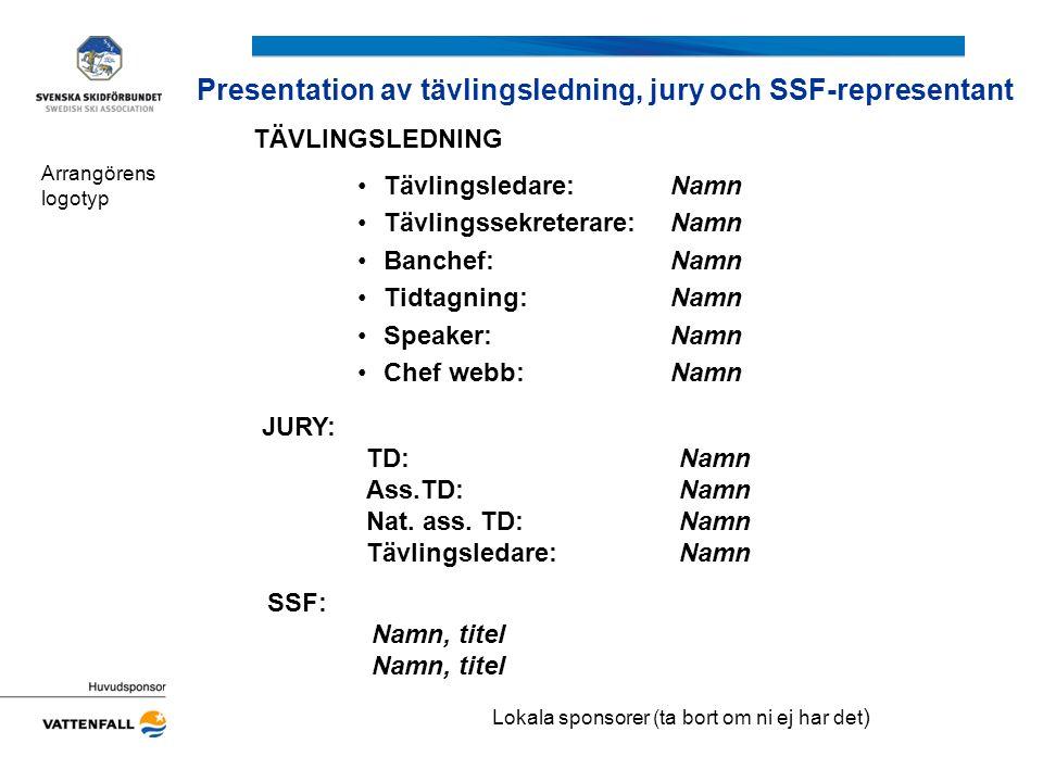 Presentation av tävlingsledning, jury och SSF-representant Arrangörens logotyp JURY: TD: Namn Ass.TD: Namn Nat. ass. TD:Namn Tävlingsledare:Namn SSF: