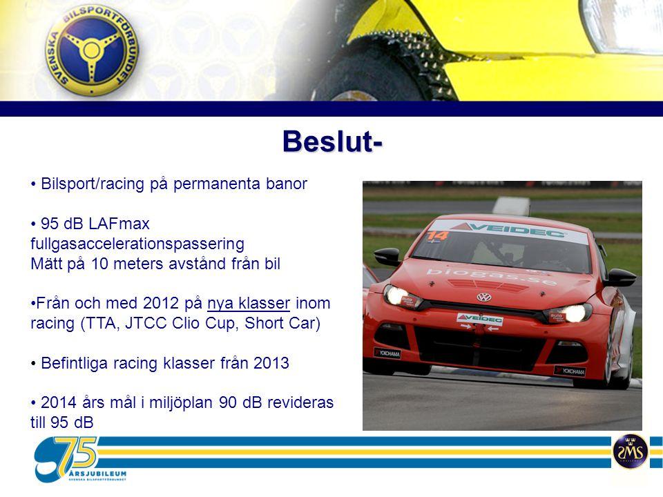 Beslut- Bilsport/racing på permanenta banor 95 dB LAFmax fullgasaccelerationspassering Mätt på 10 meters avstånd från bil Från och med 2012 på nya kla