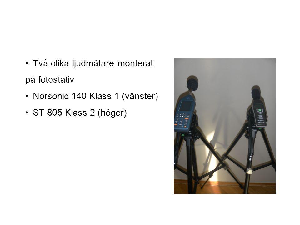 Två olika ljudmätare monterat på fotostativ Norsonic 140 Klass 1 (vänster) ST 805 Klass 2 (höger)