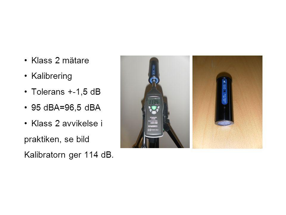 Klass 1 mätare Kalibrerad Tolerans +-0 dB 95 dBA=95 dBA Ljudinspelning Frekvensanalys Mm, mm.