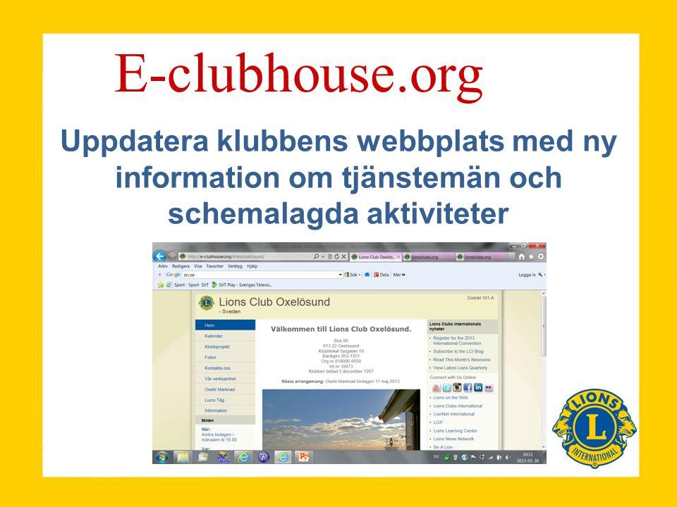 Uppdatera klubbens webbplats med ny information om tjänstemän och schemalagda aktiviteter E-clubhouse.org