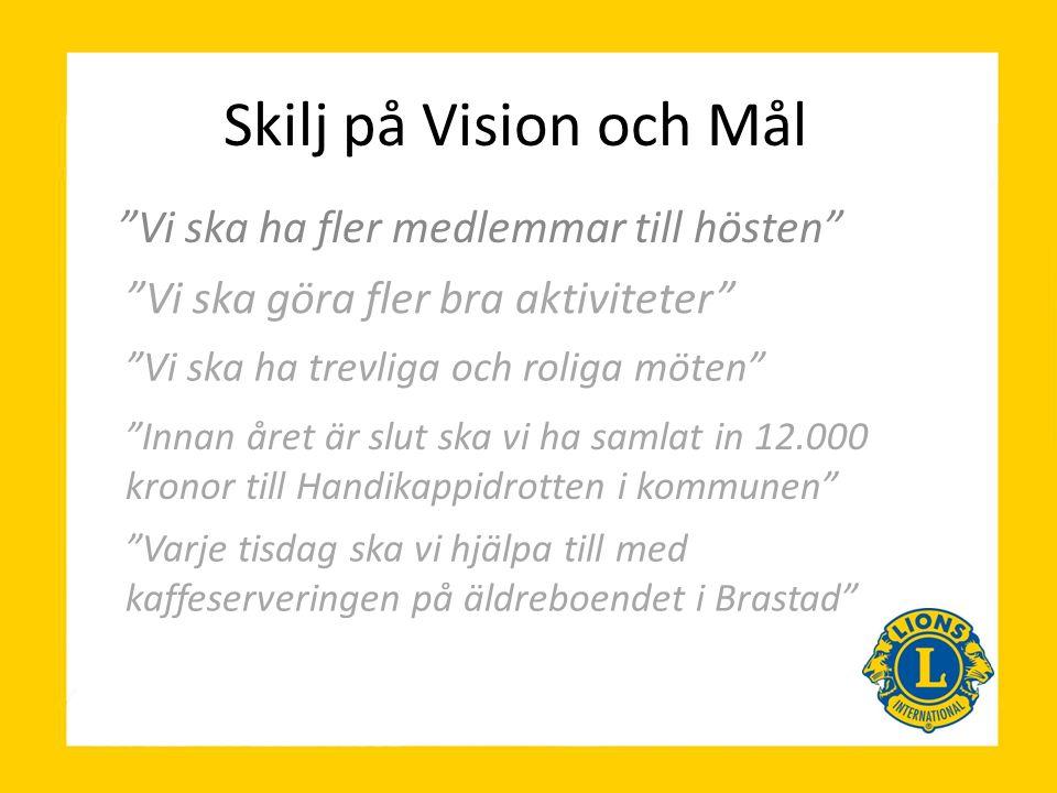 """Skilj på Vision och Mål """"Vi ska ha fler medlemmar till hösten"""" """"Vi ska göra fler bra aktiviteter"""" """"Innan året är slut ska vi ha samlat in 12.000 krono"""