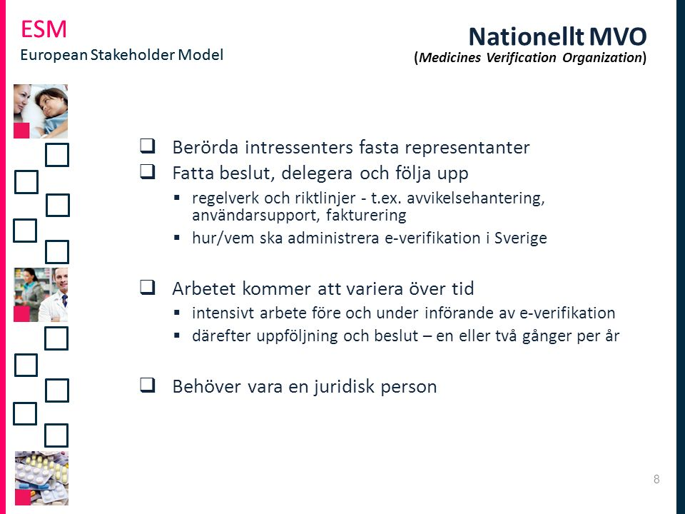 ESM European Stakeholder Model ESM European Stakeholder Model Nationellt MVO (Medicines Verification Organization)  Berörda intressenters fasta repre