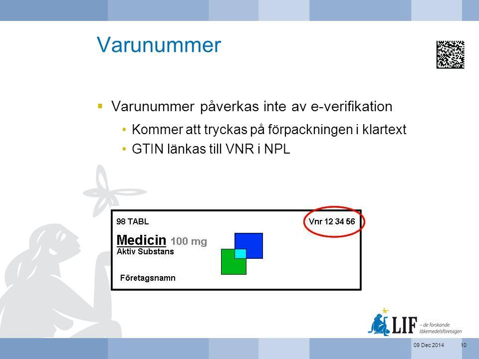 09 Dec 2014 Varunummer  Varunummer påverkas inte av e-verifikation Kommer att tryckas på förpackningen i klartext GTIN länkas till VNR i NPL 10