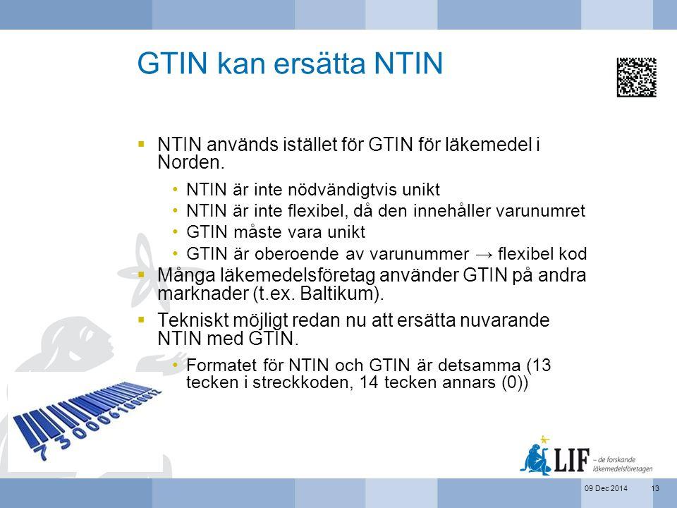 09 Dec 2014 GTIN kan ersätta NTIN  NTIN används istället för GTIN för läkemedel i Norden. NTIN är inte nödvändigtvis unikt NTIN är inte flexibel, då