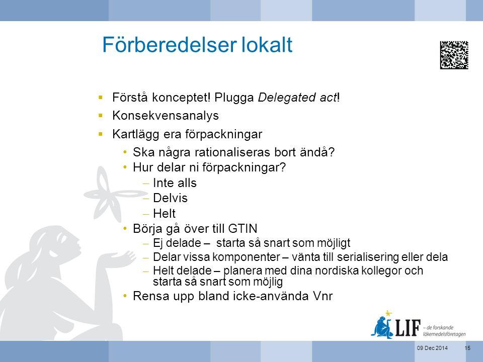 09 Dec 2014 Förberedelser lokalt  Förstå konceptet! Plugga Delegated act!  Konsekvensanalys  Kartlägg era förpackningar Ska några rationaliseras bo